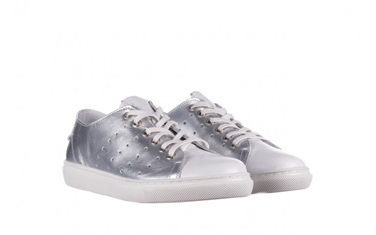 Trampki bayla-161 093 90135 srebrny biały 161048, skóra naturalna  - trampki - buty damskie - kobieta 1