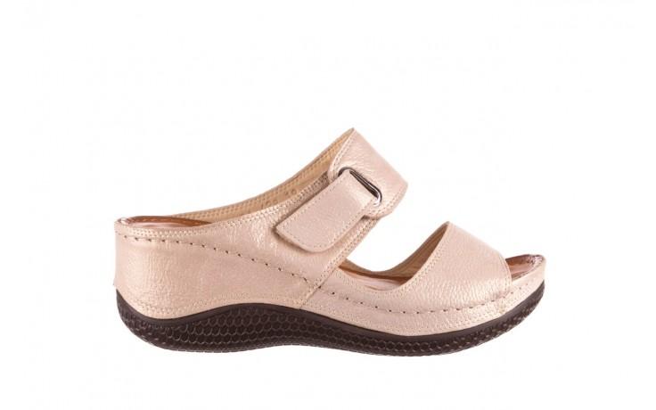 Klapki bayla-112 0001-428-bs43 beż, skóra naturalna  - na koturnie - klapki - buty damskie - kobieta
