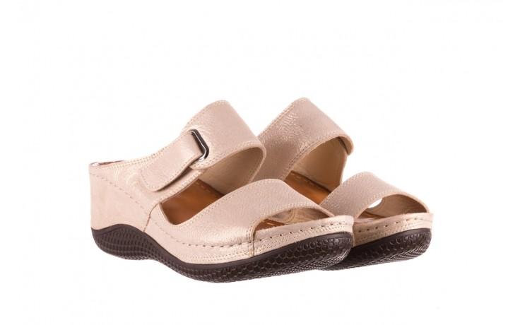 Klapki bayla-112 0001-428-bs43 beż, skóra naturalna  - na koturnie - klapki - buty damskie - kobieta 1