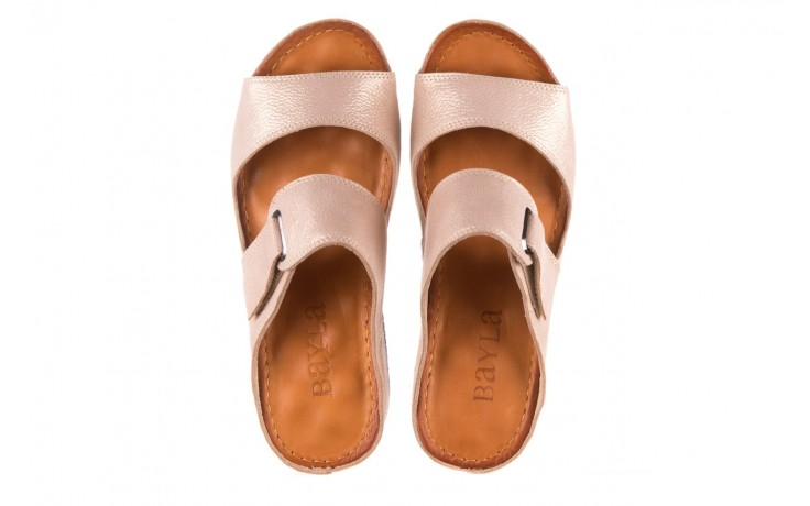 Klapki bayla-112 0001-428-bs43 beż, skóra naturalna  - na koturnie - klapki - buty damskie - kobieta 4