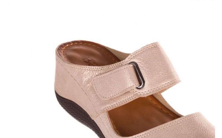 Klapki bayla-112 0001-428-bs43 beż, skóra naturalna  - na koturnie - klapki - buty damskie - kobieta 5