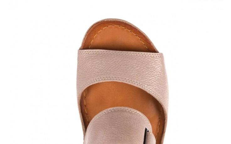 Klapki bayla-112 0001-428-bs43 beż, skóra naturalna  - na koturnie - klapki - buty damskie - kobieta 6