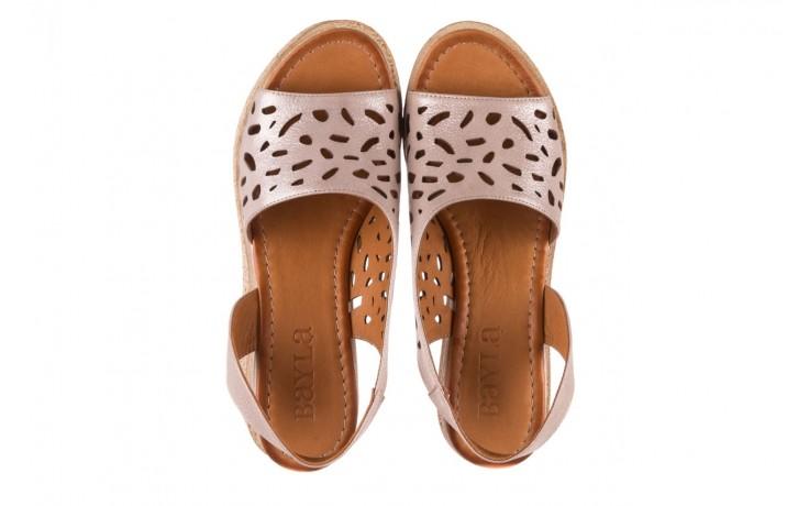 Sandały bayla-112 0414-1390 beż, skóra naturalna  - koturny - buty damskie - kobieta 4