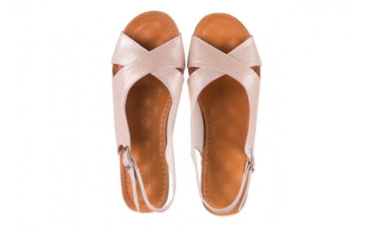 Sandały bayla-112 0158-58 beż, skóra naturalna  - na koturnie - sandały - buty damskie - kobieta 4