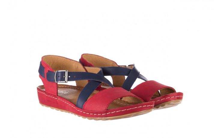 Sandały bayla-100 420 niebieski czerwony, skóra naturalna  - bayla - nasze marki 1