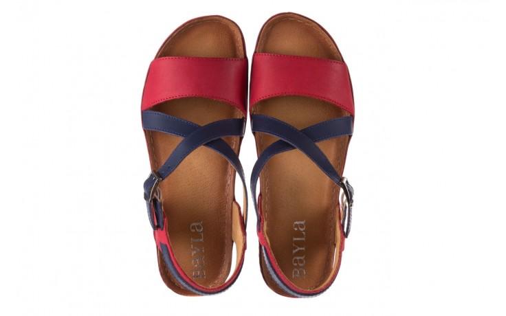 Sandały bayla-100 420 niebieski czerwony, skóra naturalna  - bayla - nasze marki 4