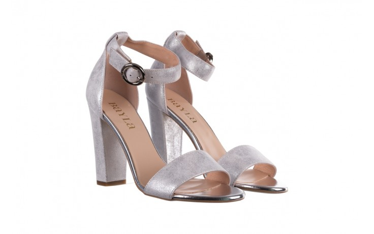 Sandały bayla-056 8024-1089 srebrny, skóra naturalna  - na obcasie - sandały - buty damskie - kobieta 1