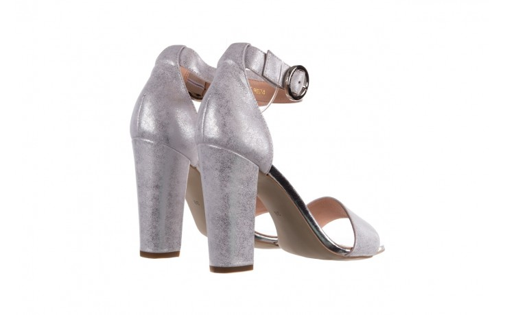 Sandały bayla-056 8024-1089 srebrny, skóra naturalna  - na obcasie - sandały - buty damskie - kobieta 3