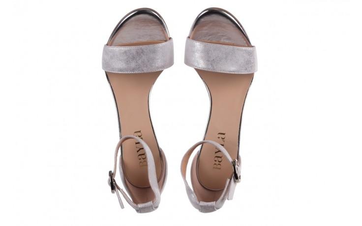 Sandały bayla-056 8024-1089 srebrny, skóra naturalna  - na obcasie - sandały - buty damskie - kobieta 4