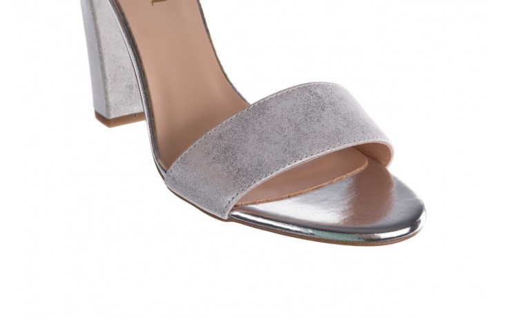 Sandały bayla-056 8024-1089 srebrny, skóra naturalna  - na obcasie - sandały - buty damskie - kobieta 5