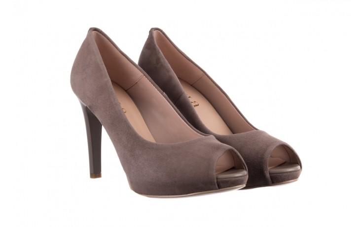 Szpilki bayla-056 9134-1318 szary zamsz, skóra naturalna  - peep toe - szpilki - buty damskie - kobieta 1