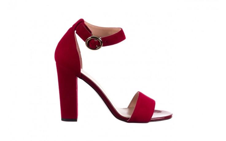 Sandały bayla-056 8024-1432 burgund zamsz, skóra naturalna
