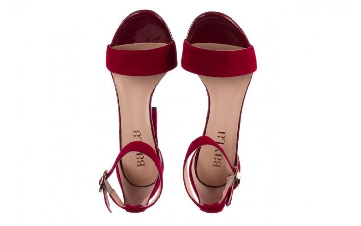 Sandały bayla-056 8024-1432 burgund zamsz, skóra naturalna 4