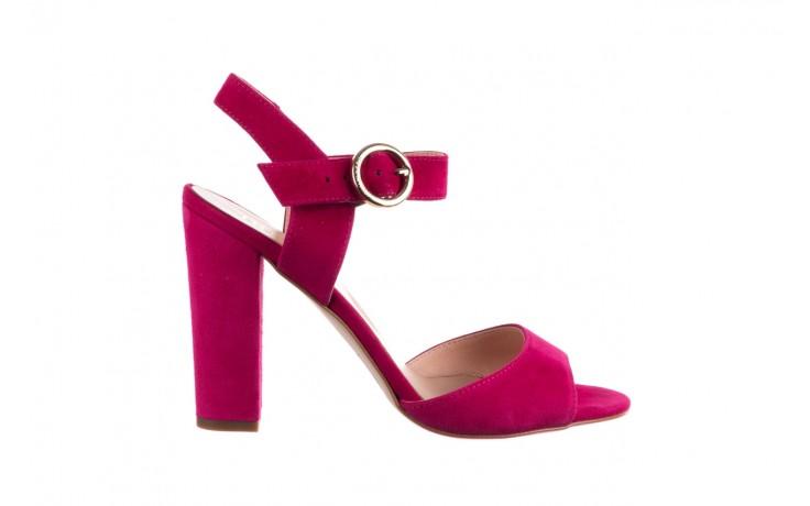 Sandały bayla-056 8023-1311 fuksja zamsz, skóra naturalna  - na obcasie - sandały - buty damskie - kobieta