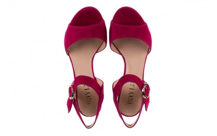 Sandały bayla-056 8023-1311 fuksja zamsz, skóra naturalna  - na obcasie - sandały - buty damskie - kobieta 4