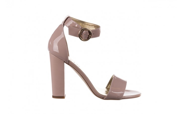 Sandały bayla-056 8024-430 beż lakier, skóra naturalna  - na obcasie - sandały - buty damskie - kobieta