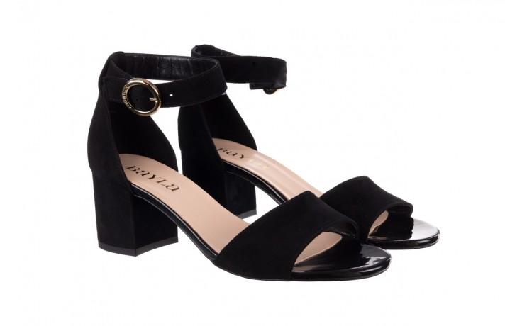 Sandały bayla-056 7049-21 czarny zamsz, skóra naturalna  - na obcasie - sandały - buty damskie - kobieta 1