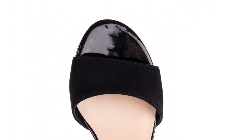 Sandały bayla-056 7049-21 czarny zamsz, skóra naturalna  - na obcasie - sandały - buty damskie - kobieta 5