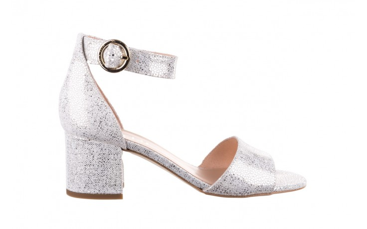 Sandały bayla-056 7049-1152 biały melanż, skóra naturalna  - na obcasie - sandały - buty damskie - kobieta