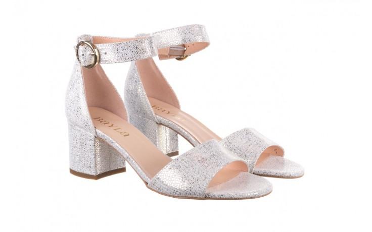 Sandały bayla-056 7049-1152 biały melanż, skóra naturalna  - na obcasie - sandały - buty damskie - kobieta 1