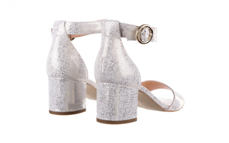 Sandały bayla-056 7049-1152 biały melanż, skóra naturalna  - na obcasie - sandały - buty damskie - kobieta 3