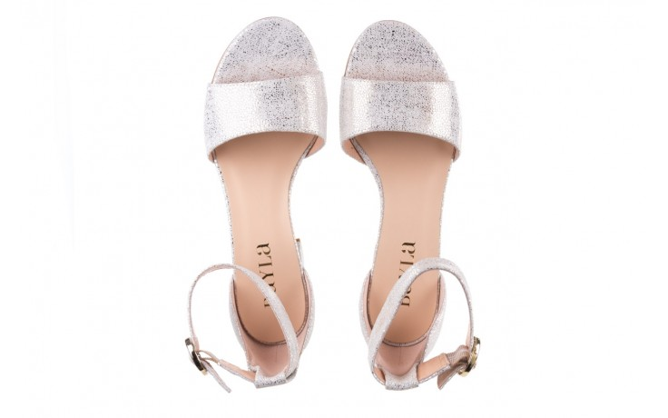 Sandały bayla-056 7049-1152 biały melanż, skóra naturalna  - na obcasie - sandały - buty damskie - kobieta 4