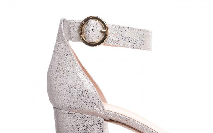 Sandały bayla-056 7049-1152 biały melanż, skóra naturalna  - na obcasie - sandały - buty damskie - kobieta 6