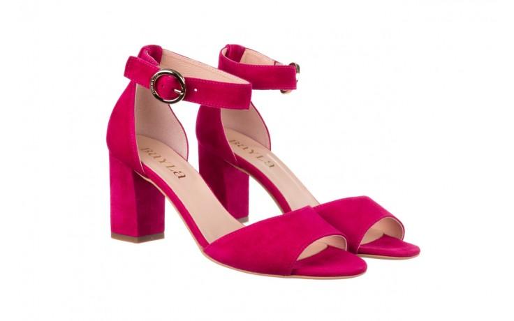 Sandały bayla-056 9249-1311 fuksja zamsz, skóra naturalna  - na obcasie - sandały - buty damskie - kobieta 1
