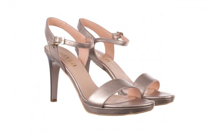 Sandały bayla-056 9163-1099 beż perła, skóra naturalna  - na obcasie - sandały - buty damskie - kobieta 1