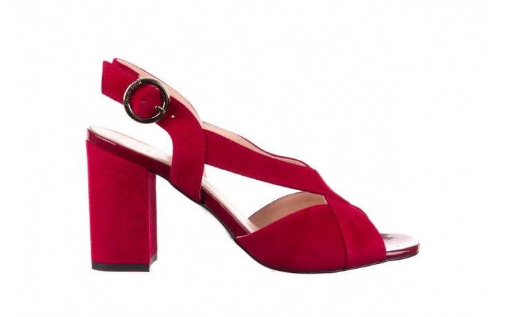 Sandały bayla-056 9205-1432 burgund zamsz, skóra naturalna  - na obcasie - sandały - buty damskie - kobieta