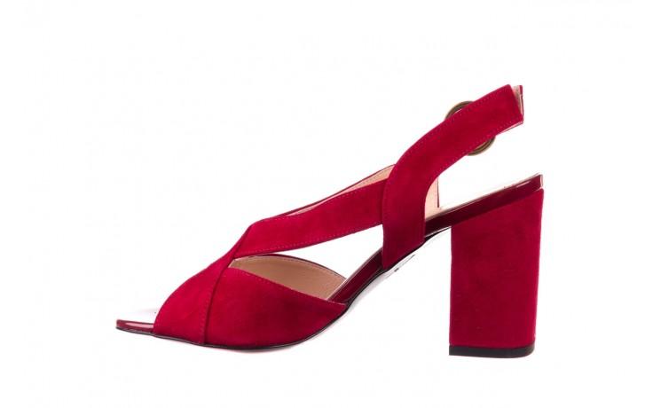 Sandały bayla-056 9205-1432 burgund zamsz, skóra naturalna  - na obcasie - sandały - buty damskie - kobieta 2