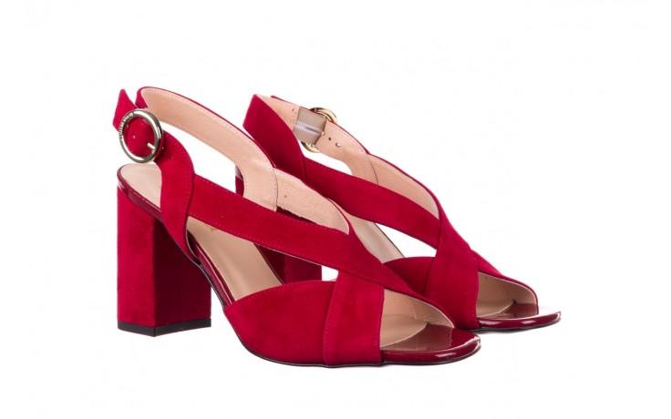 Sandały bayla-056 9205-1432 burgund zamsz, skóra naturalna  - na obcasie - sandały - buty damskie - kobieta 1