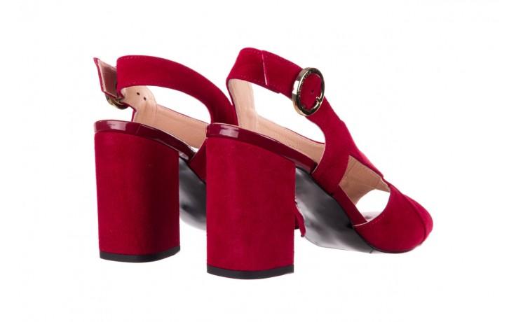 Sandały bayla-056 9205-1432 burgund zamsz, skóra naturalna  - na obcasie - sandały - buty damskie - kobieta 3