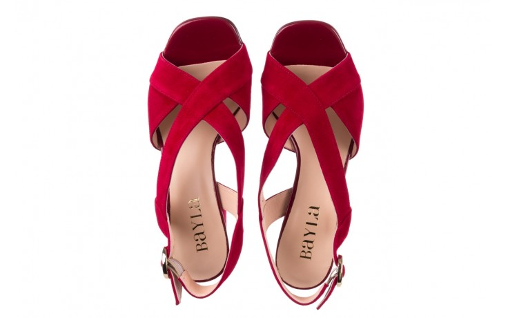 Sandały bayla-056 9205-1432 burgund zamsz, skóra naturalna  - na obcasie - sandały - buty damskie - kobieta 4