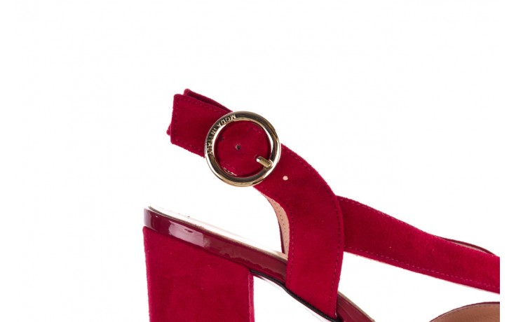 Sandały bayla-056 9205-1432 burgund zamsz, skóra naturalna  - na obcasie - sandały - buty damskie - kobieta 6