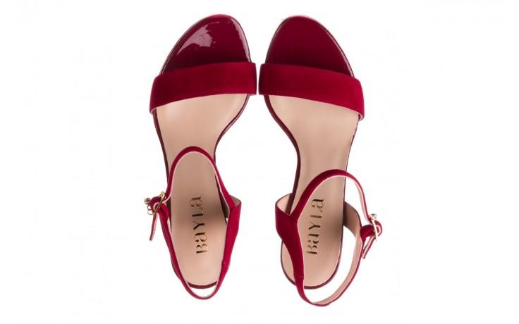 Sandały bayla-056 9163-1432 burgund zamsz, skóra naturalna  - formal style - trendy - kobieta 4