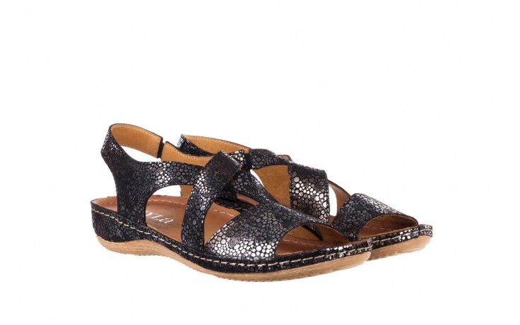 Sandały bayla-100 449 czarny srebrny, skóra naturalna  - dla niej  - sale 1
