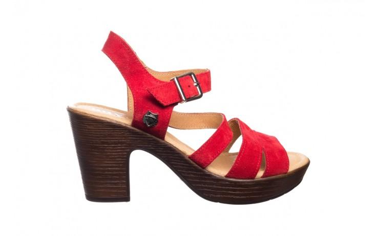 Sandały bayla-100 505 czerwony welur, skóra naturalna  - na obcasie - sandały - buty damskie - kobieta