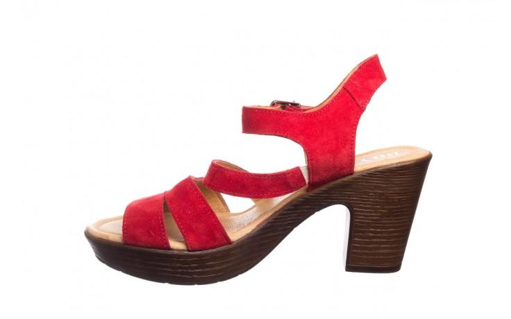 Sandały bayla-100 505 czerwony welur, skóra naturalna  - na obcasie - sandały - buty damskie - kobieta 2