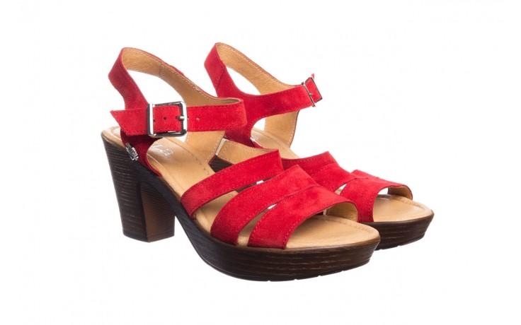 Sandały bayla-100 505 czerwony welur, skóra naturalna  - na obcasie - sandały - buty damskie - kobieta 1