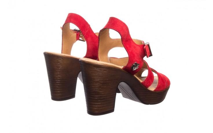 Sandały bayla-100 505 czerwony welur, skóra naturalna  - na obcasie - sandały - buty damskie - kobieta 3