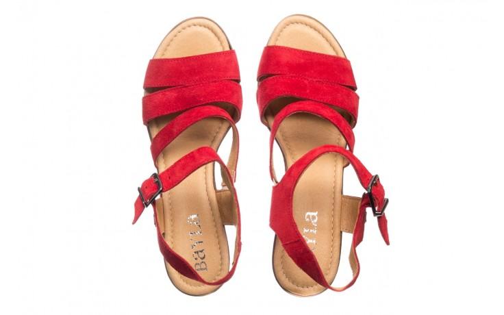 Sandały bayla-100 505 czerwony welur, skóra naturalna  - na obcasie - sandały - buty damskie - kobieta 4