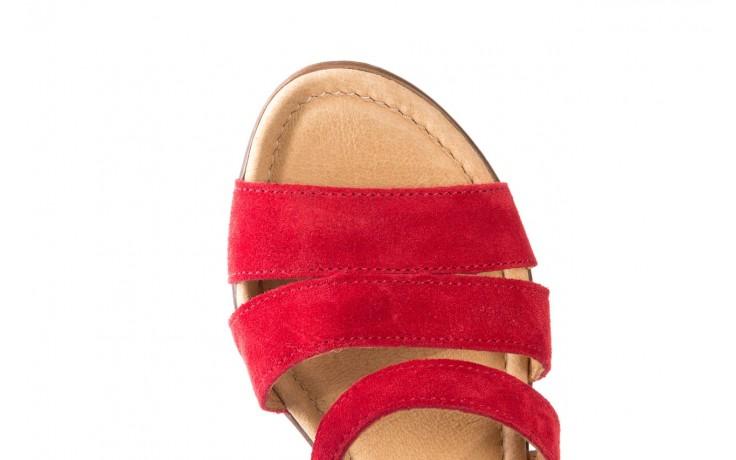 Sandały bayla-100 505 czerwony welur, skóra naturalna  - na obcasie - sandały - buty damskie - kobieta 5
