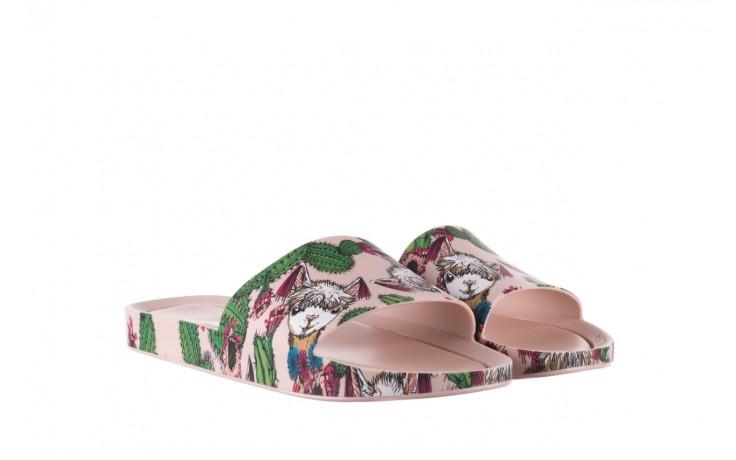 Klapki melissa beach slide 3db iv ad pink green, róż, guma - dla niej  - sale 1