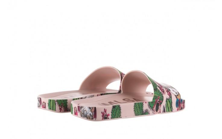 Klapki melissa beach slide 3db iv ad pink green, róż, guma - dla niej  - sale 3