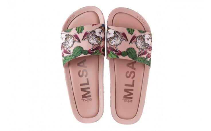 Klapki melissa beach slide 3db iv ad pink green, róż, guma - dla niej  - sale 4