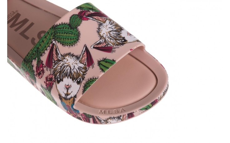 Klapki melissa beach slide 3db iv ad pink green, róż, guma - dla niej  - sale 5