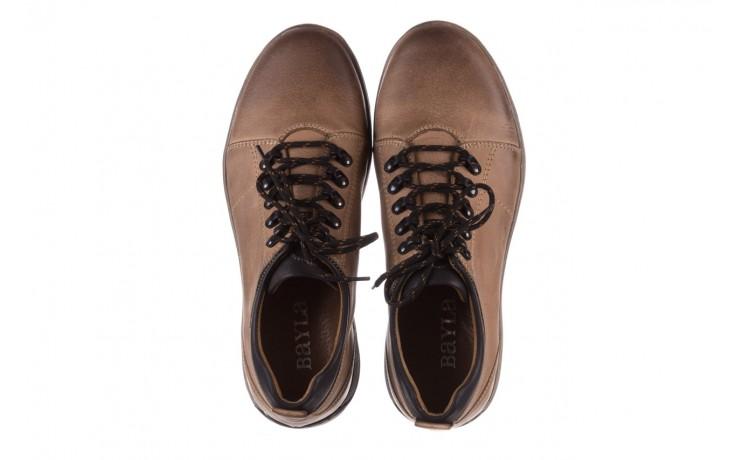 Półbuty bayla-081 862 beżowe, skóra naturalna  - trzewiki - buty męskie - mężczyzna 4