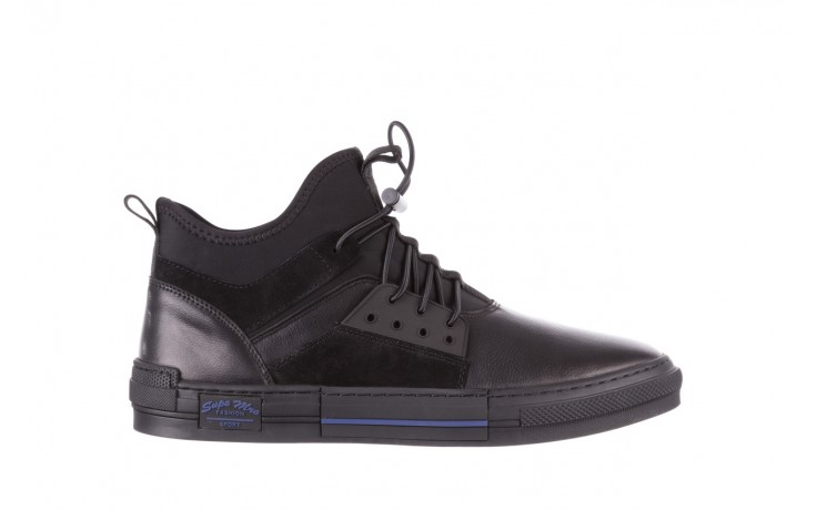 Trampki brooman x21f30r-1 black, czarny, skóra naturalna  - wysokie - trampki - buty męskie - mężczyzna