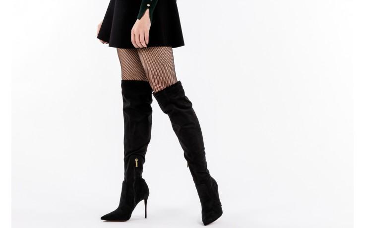 Kozaki bayla-067 130307 nobuck strech black, czarny, skóra ekologiczna  - z elastyczną cholewką / stretch - kozaki - buty damskie - kobieta 6